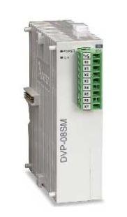 Módulo de extensão digital (DI/DO) para CLP Modelo SS, AS, SX, SC ou SV com 8 Entradas Digitais e Alimentação 24Vdc. DELTA DVP08SM11N