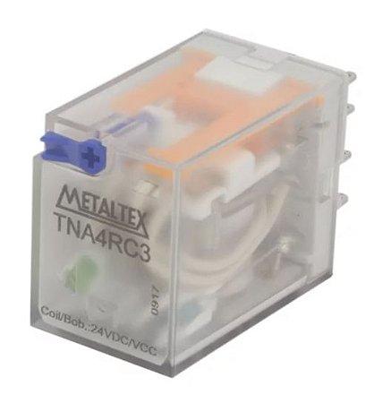 rele 14 pinos 4 contatos reversíveis tensão da bobina 24Vcc, capacidade 5A METALTEX TNA4RC3