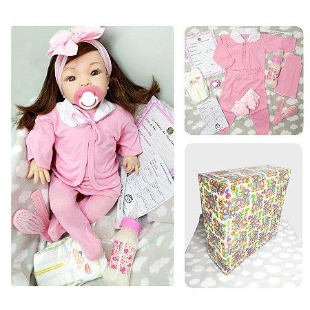 Boneca Bebe Reborn Castanho Comprido Kit com Acessórios