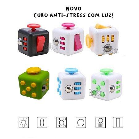 Mini Cubo Anti Stress Fidget Toy Com Luz Colorida