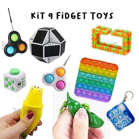 Kit 9 Fidget Toys Brinquedos Anti Stress