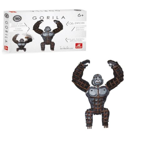 Quebra cabeça Gorila 106 peças 3D