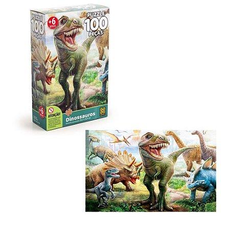 Quebra cabeça Dinossauros c/100 peças