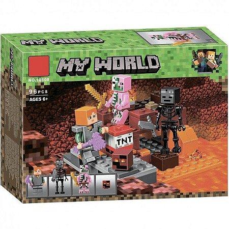 Blocos de Montar Lego MYWORLD  Minecraft - O Combate de Nether