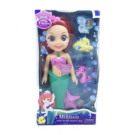 Boneca Disney Princesa  Ariel Pequena Sereia com Luzes e Som