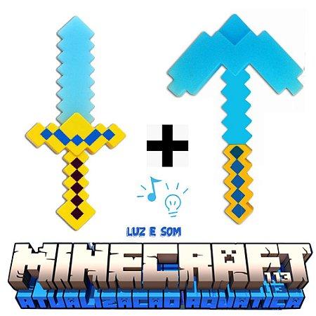 Espada e Picareta Minecraft Kit 37 CM Com Luz e Som
