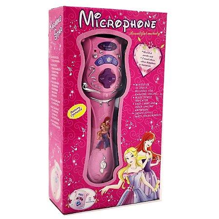 Microfone Infantil com Amplificador de Voz Karaokê Princesa