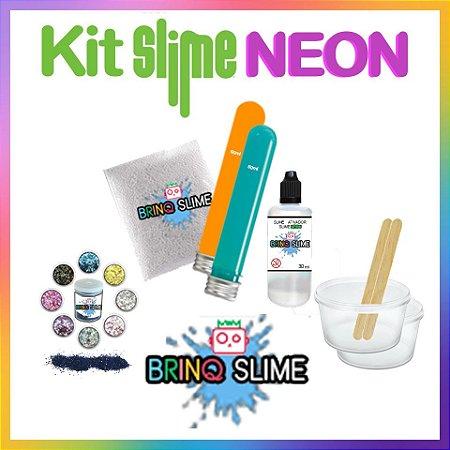 Kit 2 Slime Cola Neon Magic Floam Brilha No Escuro Tipo Elmers