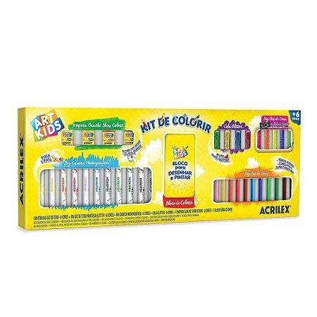 Kit de Colorir Acrilex Canetinhas e Giz Big Neon e Tinta Guache