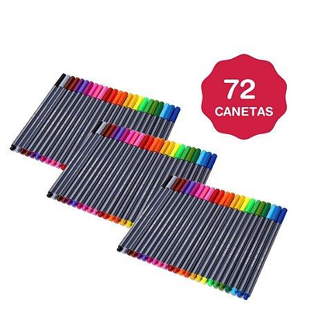 Kit 3 Estojo Com 72 Canetas Tipo Stabilo Canetas Ponta Fina FRETE GRÁTIS