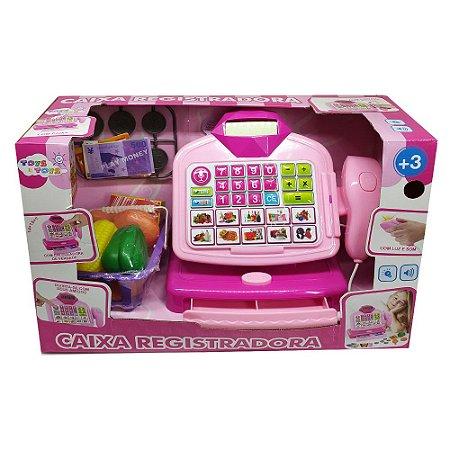 Brinquedo Caixa Registradora Com Visor Digital Rosa