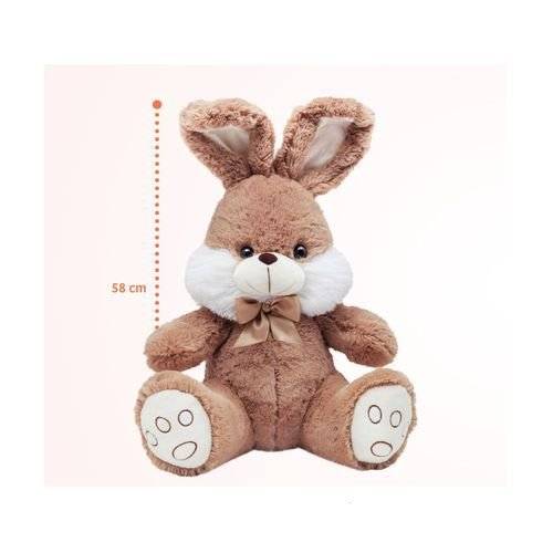 Coelhão Grande Bege Pelúcia Antiálergica 58cm Buba Toys
