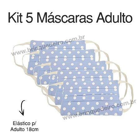 Kit 5 Máscaras de Tecido Adulto Proteção Azul Poa Lavável 2 Camadas