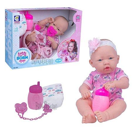 Bebê tipo Reborn Faz Xixi Boneca E Mamadeira Lançamento