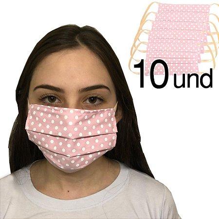 Kit 10 Máscara de Proteção Poa Rosa Camada Dupla