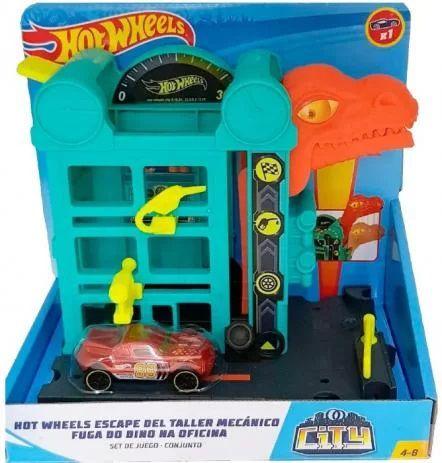 Pista Hot Wheels Fuga do Dino na Oficina - Mattel