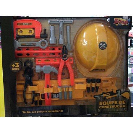 Brinquedo Equipe De Construção Ferramentas e Capacete