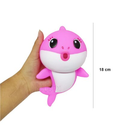 Brinquedo Baby Shark 18cm Rosa Com Som e Luz