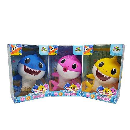 Kit 3 Baby Shark Musical com Luz 18cm Rosa, Amarelo e Azul