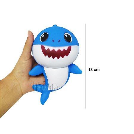 Brinquedo Baby Shark 18cm Azul Com Som e Luz