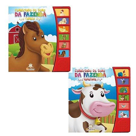 Kit 2 Livros Infantis Conhecendo os Sons Vaquinha e Cavalo