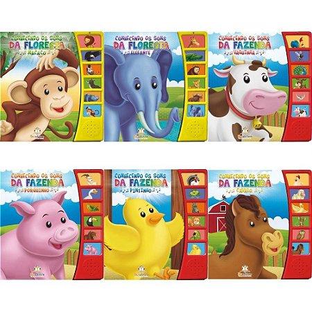 Kit Livros Infantil Conhecendo Os Sons da Fazenda e Floresta