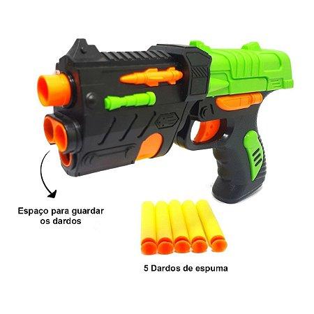 Lançador de Dardos Tipo Nerf Pistola 5 Dardos e Alvo
