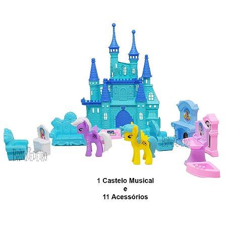Brinquedo Castelo de Boneca Azul Com Som e Luz