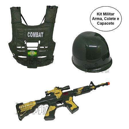 Kit Exército Completo Arma Capacete e Colete