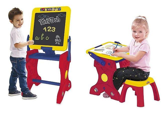 Mesa infantil 2 em 1 Estúdio de Arte Com Lousa e Acessórios