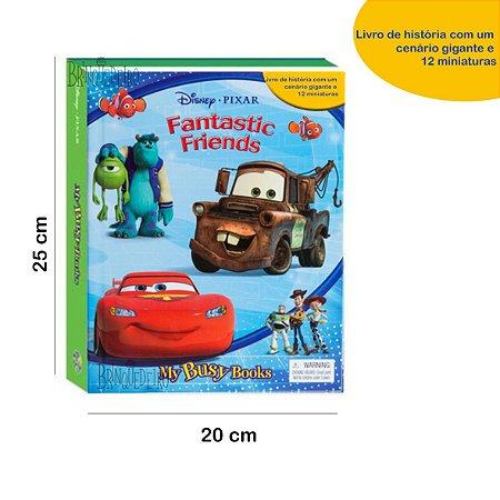 Brinquedo Disney com 12  Miniaturas Livro Cenário Gigante