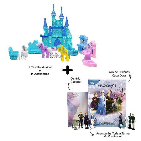 Brinquedo Frozen Castelo Musical e Livro Com 10 Miniaturas