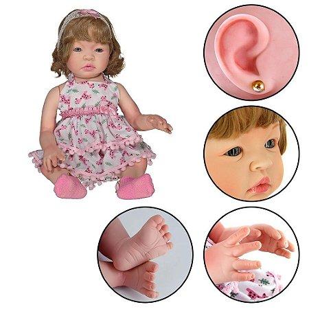 Boneca Bebê Reborn Loira Realista Com Acessórios