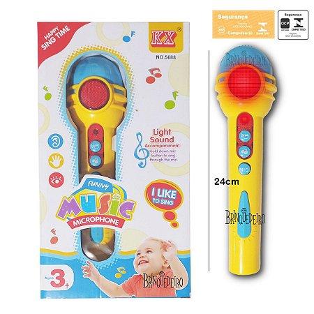 Microfone Infantil Com Som e Luz Divertido