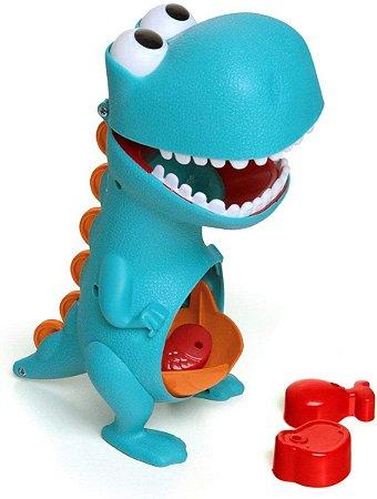 Brinquedo Dino Papa Tudo Azul Divertido