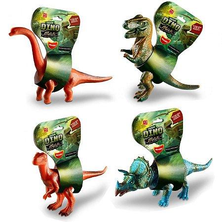 Kit Coleção Dinossauros Emborrachados Vinil Dino Max
