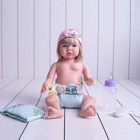Boneca Bebê Reborn Loira Corpo 100% Vinil Siliconado