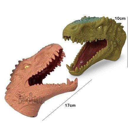 Brinquedo Dinossauro Fantoche de Mão Vinil Verde ou Marrom