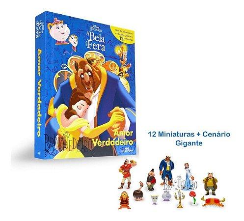 Livro Infantil Bela E A Fera + 12 Miniaturas Dos Personagens