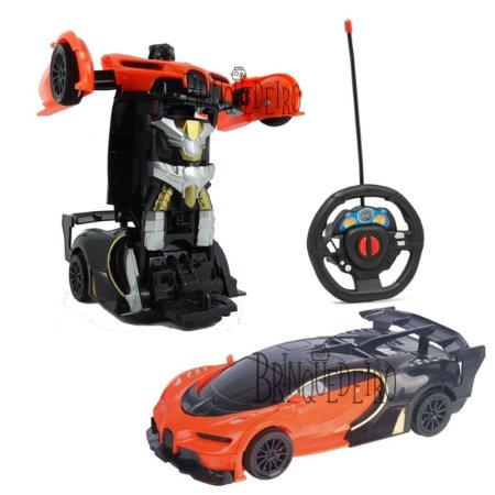 Carro Robô Com Controle Remoto Tipo Transformers Laranja