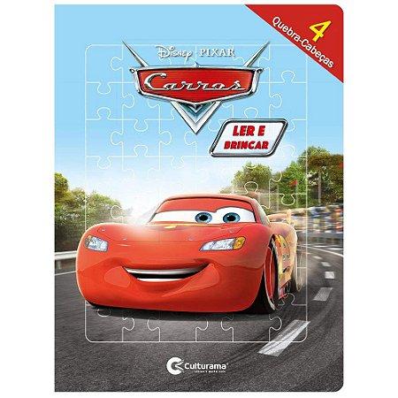 Livro Infantil Carros Com Quebra Cabeça Ler e Brincar
