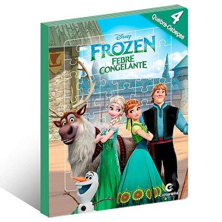 Livro Infantil Frozen Com Quebra Cabeça Ler e Brincar