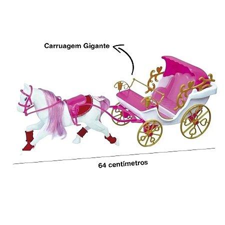 Carruagem Real Rosa Gigante Com Cavalo Princesas