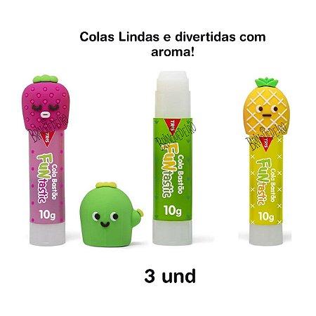 Kit 3 Cola Bastão Divertidas e Fofas Não Tóxica Com Aroma