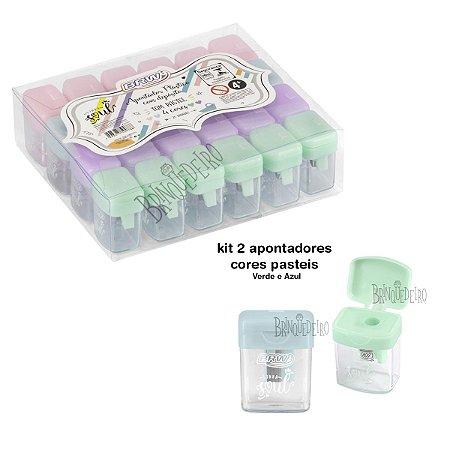 Kit 2 Apontador Plástico Pastel com Depósito Azul e Verde