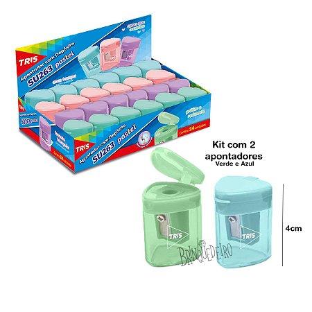 Kit 2 Apontador Com Deposito cor Pastel Verde e Azul Tris