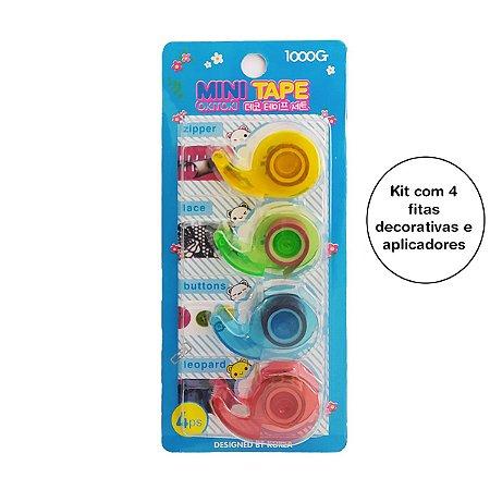 Kit com 4 fitas adesivas Washi Tape Para Decorar Korea Sortida