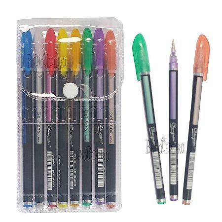 Kit caneta 8 Cores Glitter Ponta Fina 1mm Tinta em Gel