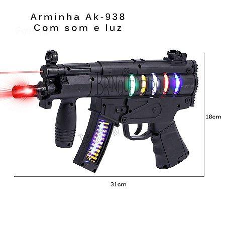Brinquedo Metralhadora Realista Com Luz e Som Future AK 938