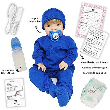 Bebê Reborn Boneco Loiro Ou Moreno Corpo de Pano Com Acessórios